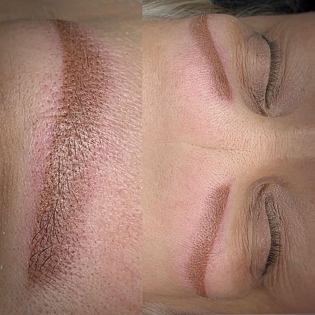 Пудровые брови, когда нет своих волосков в Хабаровске | До и после