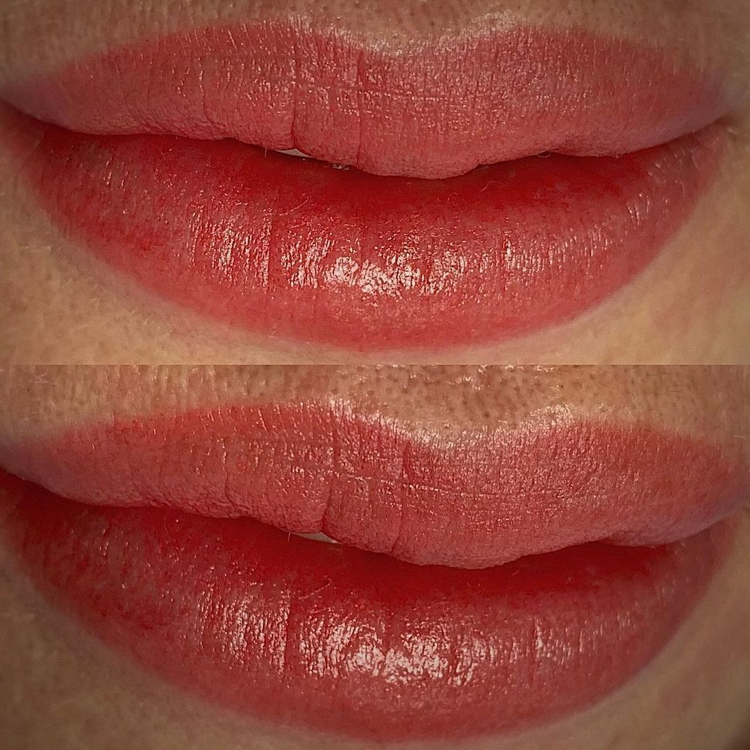 Видео перманентного макияжа губ после коррекции