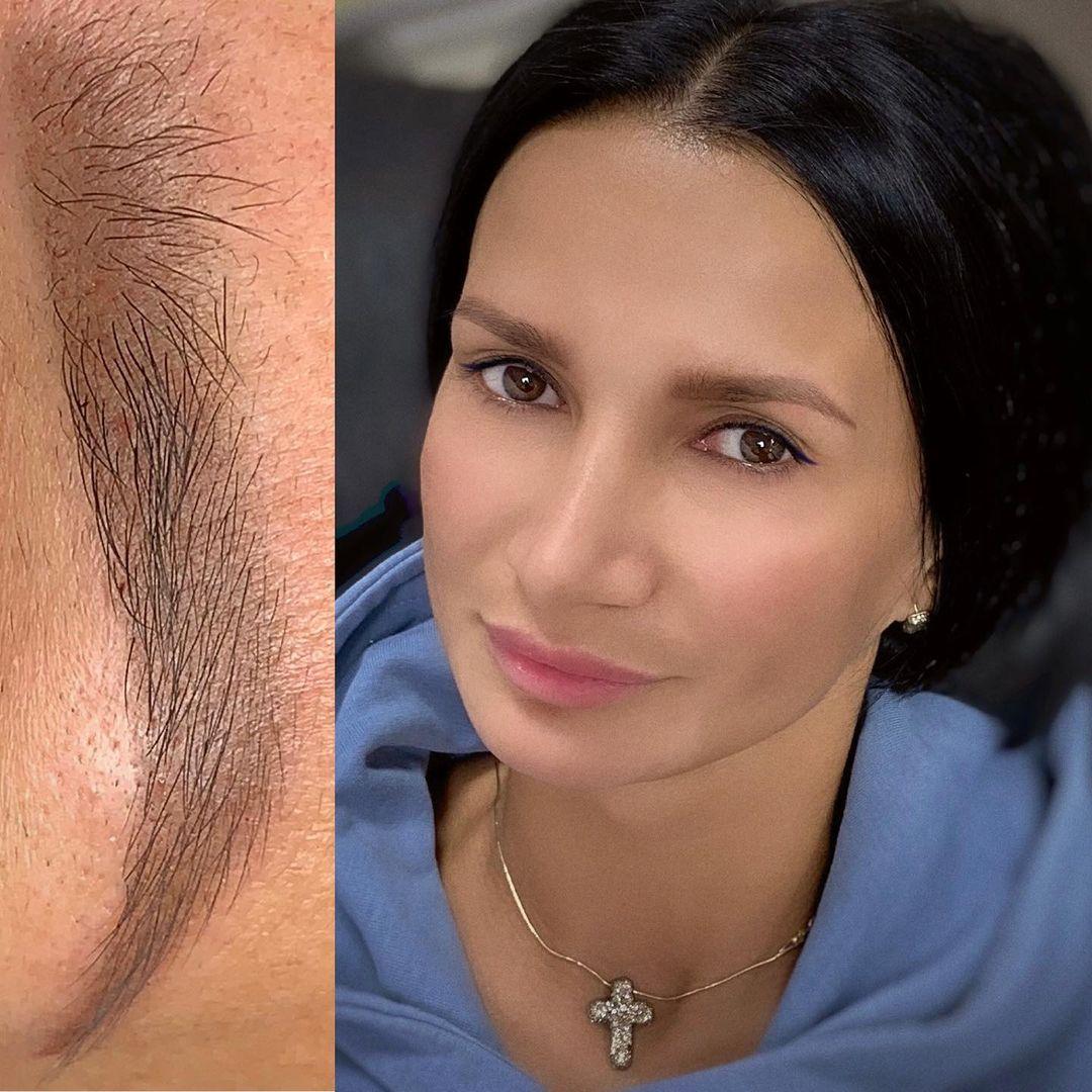 Пудровые брови сразу после процедуры обновления   Глущенко Оксана