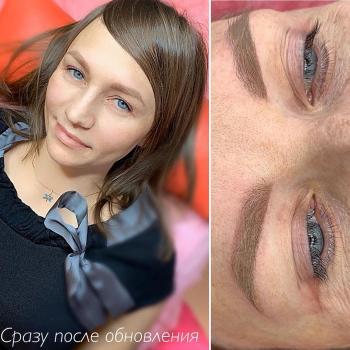 Перекрытие розовых рубцов после микроблейдинга | Бровям больше года | Перманентный макияж бровей | Хабаровск