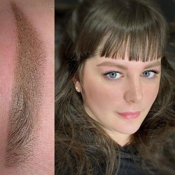 Перманентный макияж бровей сразу после обновления цвета