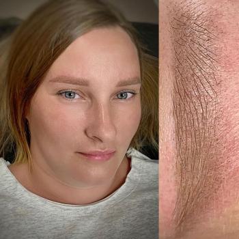 Перманентный макияж бровей сразу после процедуры обновления